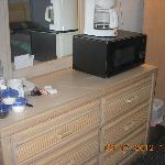 Dresser, coffee maker and microwave