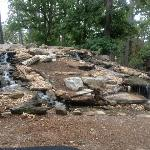 Waterfall located on grounds