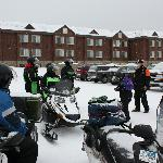 Hotel parking lot with rented sleds