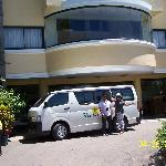 My Neice and Nephew at the van in front of Hotel Fleuris