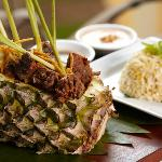 MARINATED KHMER BEEF ROLLS with ginger & lemongrass,lime & pepper dip