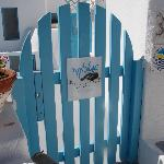 You wont miss this cute little blue gate.