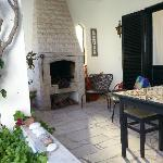 Outside terrace with wood burner