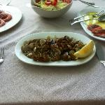 Large grilled prawns, clams and salad