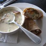 chowder with chicken salad wrap