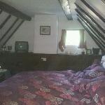 beamed bedroom