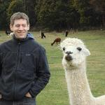 My husband making friends with an Alpaca