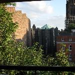 View of Coventry Cathedral from hotel balcony