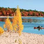 Fall kayaking on East Grand Traverse Bay, Traverse City, MI