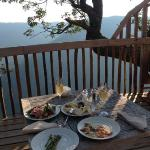 Breakfast on the deck of Golden Eagle Tree House