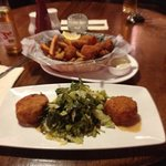 fish cake and greens