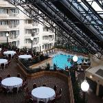 View from our room to the banquet area and pool - on the interior balcony