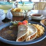 Chicken tacos with beans & rice, BOGO Margaritas and chips with salsa!