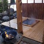"""The private outdoor family bath """"Shinano-buro"""" in the winter."""