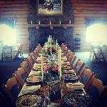 Reception hall set for dinner