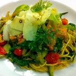 Spaghetti with Zucchini Flowers and Pecorino Pepato