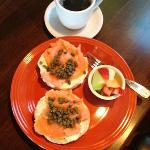 Bagels and lox & coffee