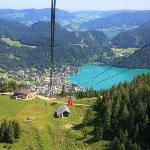 View from the cable car while ascending to the top of the mountain