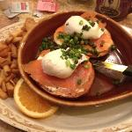 salmon with eggs Benedict in the morning! delicious!