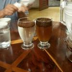 Cupping session (organic coffee on the left, store bought on the right - the brown is sugar adde