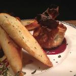 Baked Brie wrapped in Filo with Raspberry Coulis