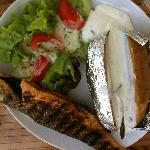 Sea bass with a baked potato