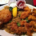 Fried Alligator and Stuffed Crab with Dirty Rice.