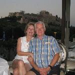 One happy couple with the Acropolis in the background