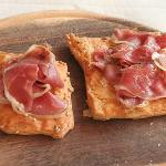 Goose speck (think goose bacon) on puff pastry