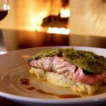 Green Chile Crusted Salmon with smashed potatoes & Poblano chile sauce