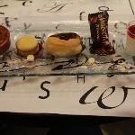 Assiette of desserts on set menu