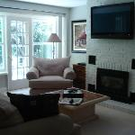 "42"" TV, fireplace & door to back deck"
