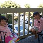 Lexi & Phoebe on the balcony