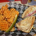 Reuben Sandwich and Waffle Potato Fries