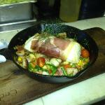 Prosciutto Wrapped Halibut With Gnocchi & Spring Vegetable Succotash