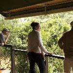On our deck as we watch the herd at the river w/Maasai