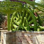 The water wheel that provided irrigation to the orange grove has been restored