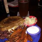 Grilled pastrami & swiss with sweet potato wedges, marshmallow dipping sauce & cole slaw.
