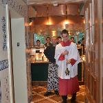 Entering the kitchen...we were welcomed by a young man dressed as an acolyte, swinging a censor