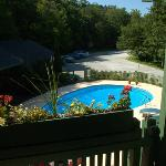 Pool and parking lot