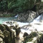 Sight of the rapids on our hike to the blue creek cave