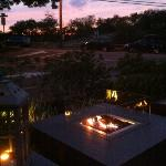 fire pit outside at sunset