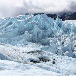 Glacier Flowing over Large Hard Rock Knob