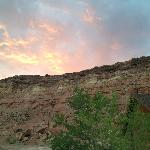Sunset at cliff dwellers (view behind the lodge)