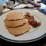 Oatmeal pancakes and (locally sourced) bacon