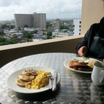 Breakfast out on the balcony