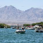 Under the London Bridge along the channel looking north to the California side of Lake Havasu. R