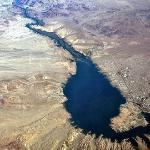 An aerial shot of Lake Havasu showing both the California and Arizona side of the lake with the