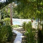 pad naar appartement en zwembad
