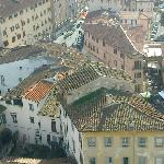 A view from the tower to the street of Mangio Italiano